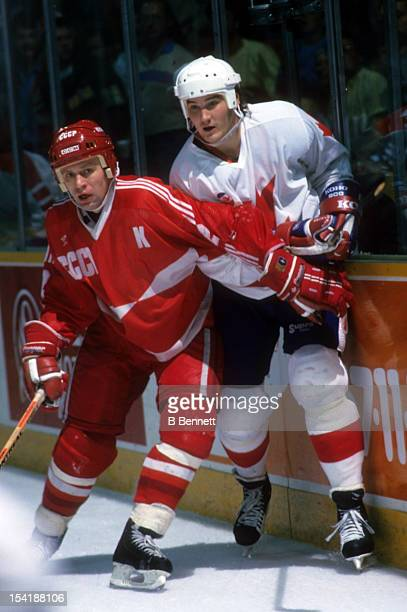 Viacheslav Fetisov of the Soviet Union checks Mario Lemieux of Canada during Game 3 of the 1987 Canada Cup Finals on September 15 1987 at the Copps...