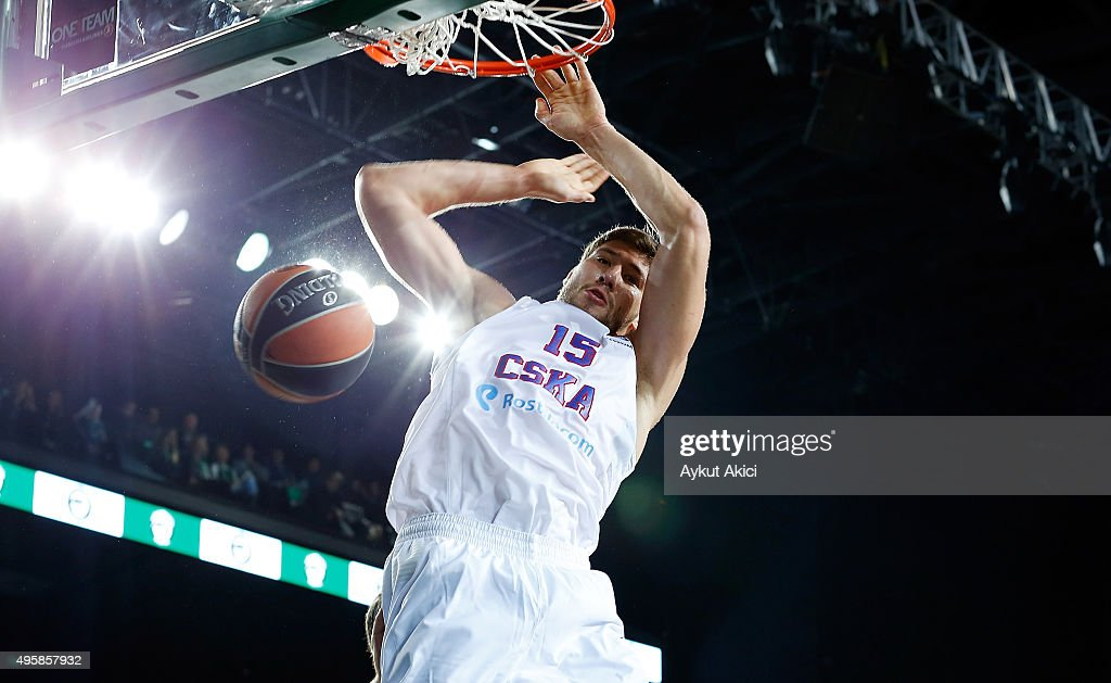 Viacheslav Kravtsov, #15 of CSKA Moscow in action during the Turkish Airlines Euroleague Basketball Regular Season date 4 game between Darussafaka Dogus Istanbul v CSKA Moscow at Volkswagen Arena on November 5, 2015 in Istanbul, Turkey.