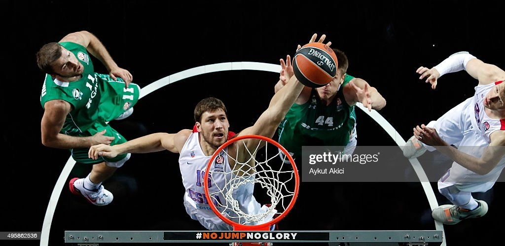 Viacheslav Kravtsov #15 of CSKA Moscow in action during the Turkish Airlines Euroleague Basketball Regular Season date 4 game between Darussafaka...