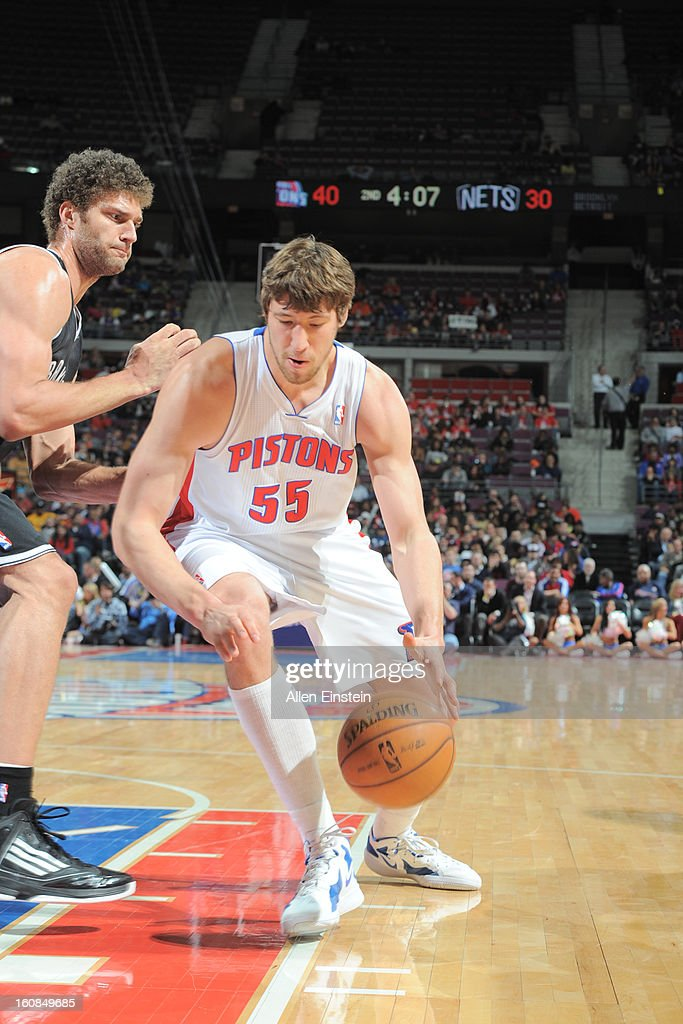 Viacheslav Kravtsov of the Detroit Pistons drives to the basket against Brook Lopez of the Brooklyn Nets on February 6 2013 at The Palace of Auburn...