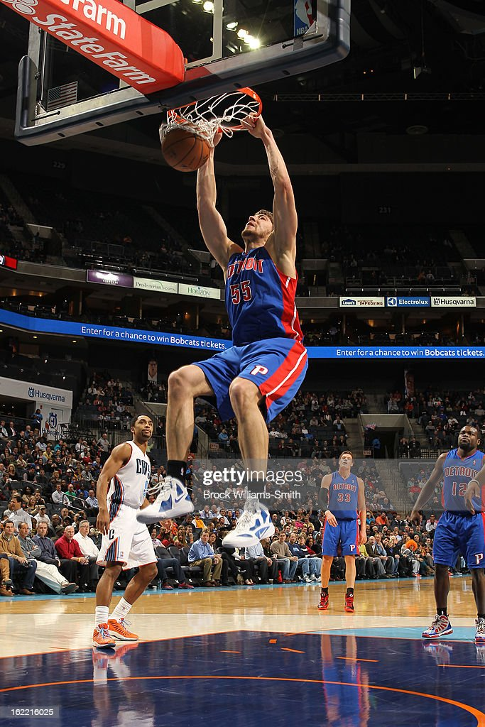 Viacheslav Kravtsov of the Detroit Pistons dunks against the Charlotte Bobcats at the Time Warner Cable Arena on February 20 2013 in Charlotte North...