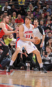 Viacheslav Kravtsov of the Detroit Pistons protects the ball during the game between the Detroit Pistons and the Toronto Raptors on March 29 2013 at...