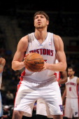 Viacheslav Kravtsov of the Detroit Pistons shoots a free throw against the Memphis Grizzlies on February 19 2013 at The Palace of Auburn Hills in...