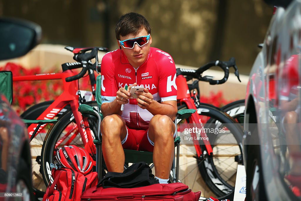 Viacheslav Kuznetsov of Team Katusha and Russia awaits the start of stage one of the 2016 Tour of Qatar, a 176.5km road stage from Durkhan to Al Khor Corniche on February 8, 2016 in Al Khor Corniche, Qatar.