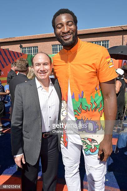 Viacom CEO Philippe Dauman and NBA player Andre Drummond attend the Nickelodeon Kids' Choice Sports Awards 2015 at UCLA's Pauley Pavilion on July 16...