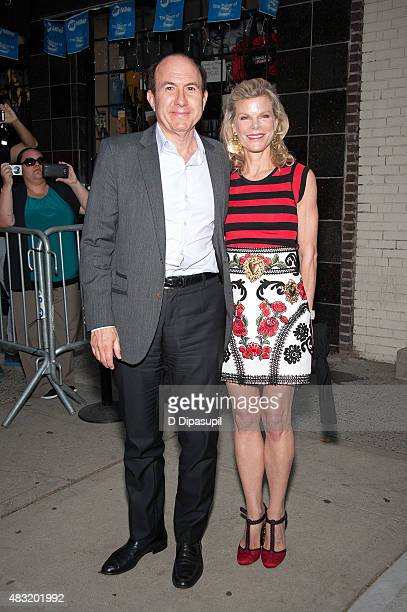 Viacom president and CEO Philippe Dauman and wife Deborah Dauman are seen departing the final episode of 'The Daily Show with Jon Stewart' at The...