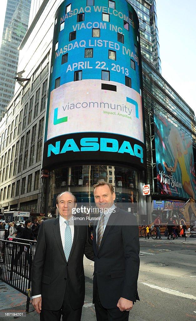 Viacom President & CEO Philippe Dauman and NASDAQ EVP Bruce Aust ring the NASDAQ Stock Market opening bell in honor of Viacommunity Day at the NASDAQ MarketSite on April 22, 2013 in New York City.