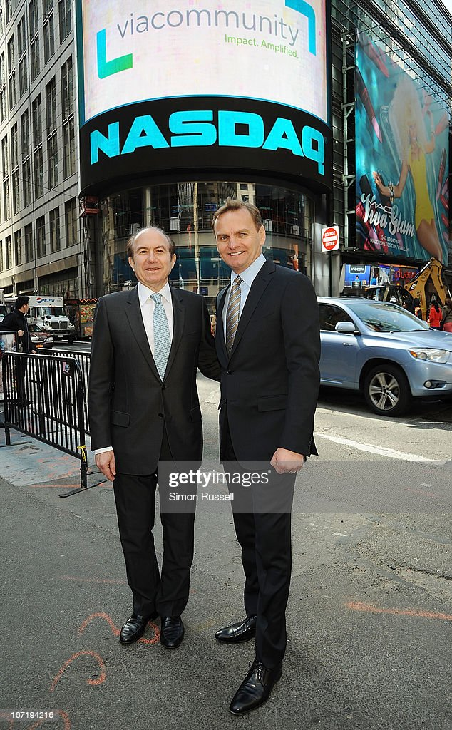 Viacom President & CEO Philippe Dauman and NASDAQ EVP Bruce Aust ring the NASDAQ Stock Market opening bell in honor of Viacommunity Day at the NASDAQ MarketSite on April 22, 2013 in New York City.