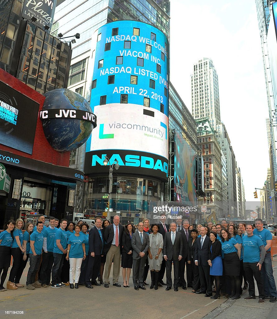 Viacom President & CEO Philippe Dauman is joined by various executives and Viacommunity Day Volunteers at the NASDAQ Stock Market opening bell in honor of Viacommunity Day at the NASDAQ MarketSite on April 22, 2013 in New York City.