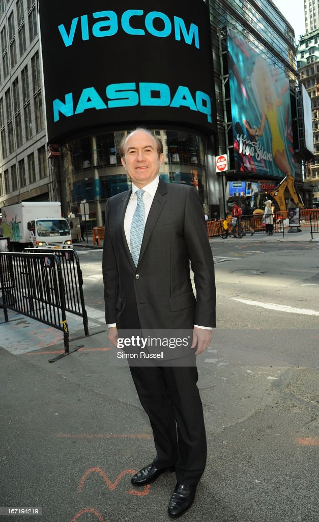 Viacom President & CEO <a gi-track='captionPersonalityLinkClicked' href=/galleries/search?phrase=Philippe+Dauman&family=editorial&specificpeople=1381252 ng-click='$event.stopPropagation()'>Philippe Dauman</a> rings the NASDAQ Stock Market opening bell in honor of Viacommunity Day at the NASDAQ MarketSite on April 22, 2013 in New York City.