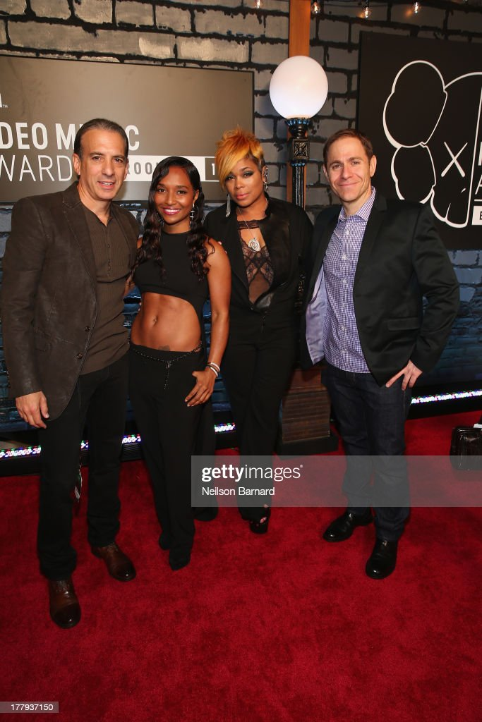 Viacom President of Music and Logo Group <a gi-track='captionPersonalityLinkClicked' href=/galleries/search?phrase=Van+Toffler&family=editorial&specificpeople=595753 ng-click='$event.stopPropagation()'>Van Toffler</a>, <a gi-track='captionPersonalityLinkClicked' href=/galleries/search?phrase=Rozonda+Chilli+Thomas&family=editorial&specificpeople=3970051 ng-click='$event.stopPropagation()'>Rozonda Chilli Thomas</a> and Tionne <a gi-track='captionPersonalityLinkClicked' href=/galleries/search?phrase=T-Boz&family=editorial&specificpeople=715877 ng-click='$event.stopPropagation()'>T-Boz</a> Watkins of TLC and President of MTV Stephen Friedman attend the 2013 MTV Video Music Awards at the Barclays Center on August 25, 2013 in the Brooklyn borough of New York City.