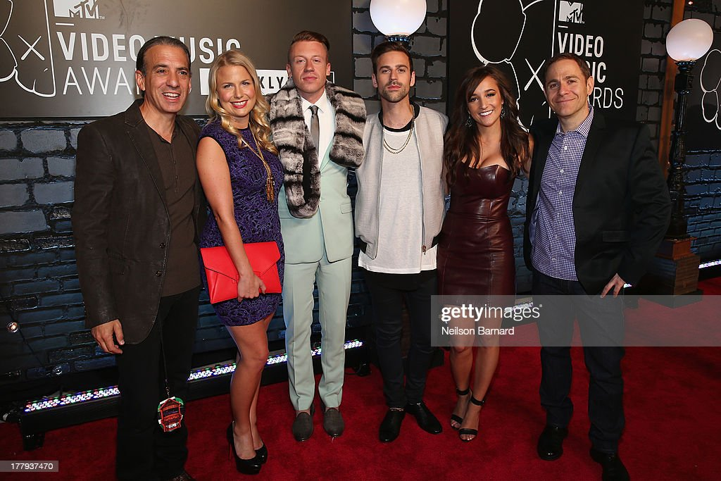 Viacom President of Music and Logo group <a gi-track='captionPersonalityLinkClicked' href=/galleries/search?phrase=Van+Toffler&family=editorial&specificpeople=595753 ng-click='$event.stopPropagation()'>Van Toffler</a>, Tricia Davis, <a gi-track='captionPersonalityLinkClicked' href=/galleries/search?phrase=Macklemore&family=editorial&specificpeople=7639427 ng-click='$event.stopPropagation()'>Macklemore</a>, Ryan Lewis and President of MTV Stephen Friedman attend the 2013 MTV Video Music Awards at the Barclays Center on August 25, 2013 in the Brooklyn borough of New York City.