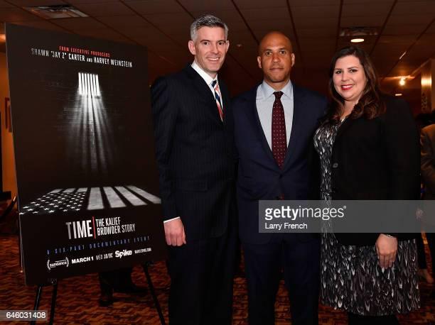 Viacom Senior VP of Government Relations Keith Murphy US Senator Cory Booker and Viacom's Sarah Hudson attend the Viacom/Spike screening of 'TIME The...
