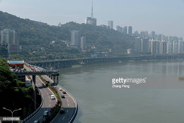 Viaducts and overpass along the Yangtze river With a growth rate of 11 percent the municipality of Chongqing has topped China's GDP list for the...
