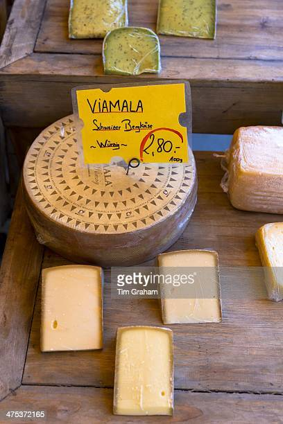 Viamala Schweizer Bergkase cheese on a stall in the Viktualienmarkt in Munich Bavaria Germany
