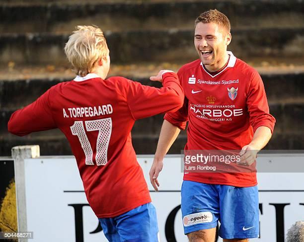 Viasatdivisionen Rasmus Festersen FC Vestsjælland Keeper Jimmy Nielsen VB Vejle Boldklub left Anders Torpegaard FC Vestsjælland © Lars Rønbøg /...