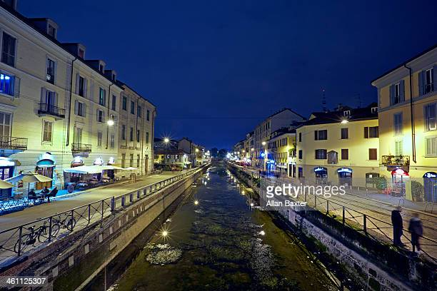 Vibrant canal district of Milan at night