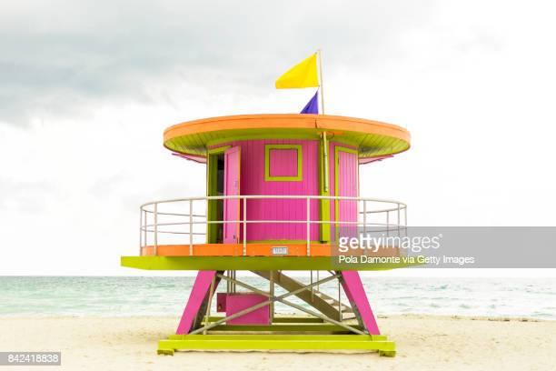 Vibrant coast guard Beach house at South Beach, Miami Florida, USA