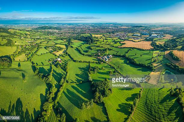 Vibrant green fields lush pasture farmland around town aerial photo