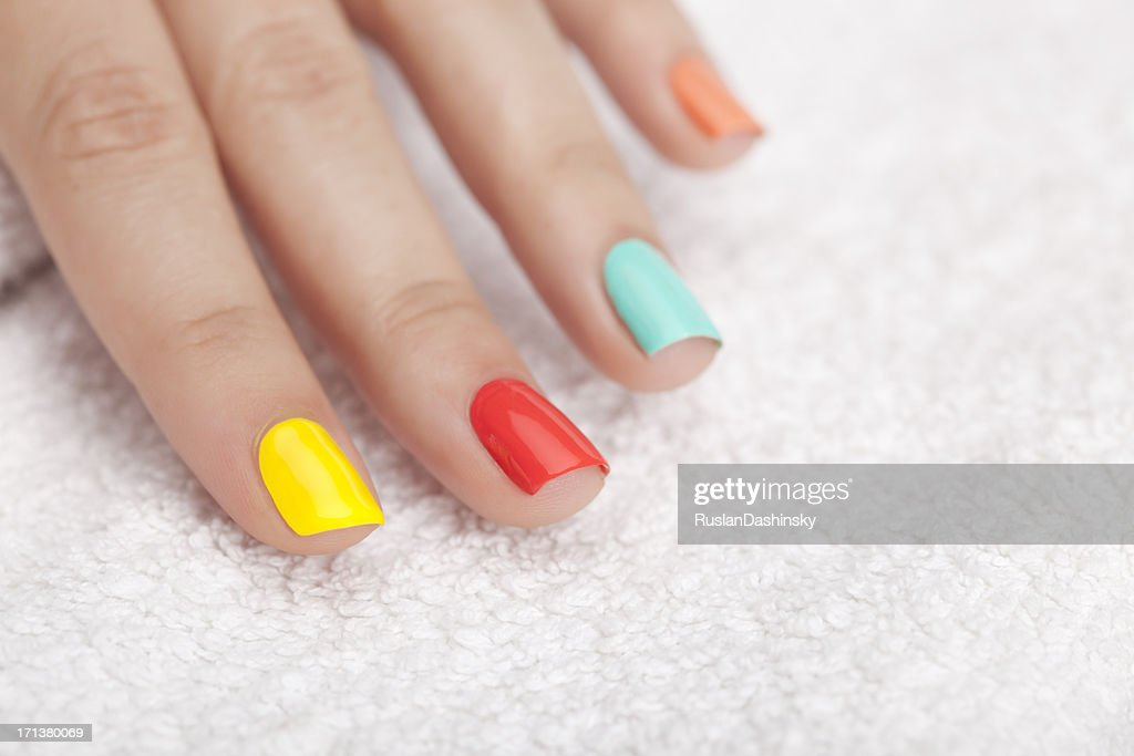 Vibrant nail polish. : Stock Photo