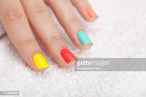 Vibrant nail polish.