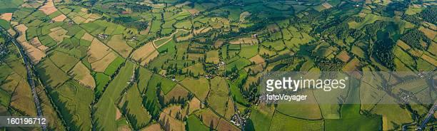 Paysage en patchwork éclatant terrains fermes idylliques de la campagne