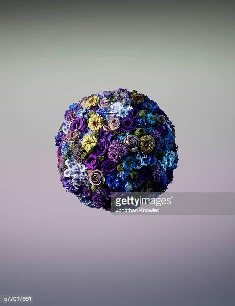 Vibrant sphere shaped floral arrangement