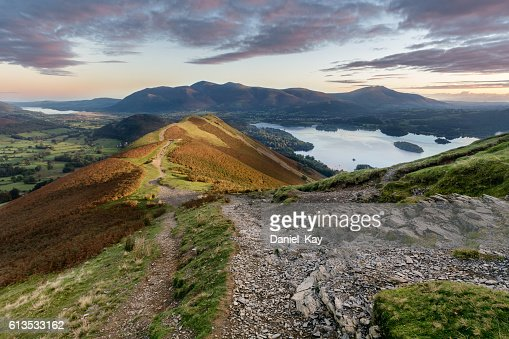 Vibrant sunrise at Catbells in the English Lake District. : Stock Photo
