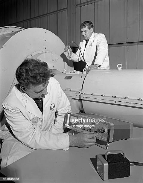Vibration sensing for the steel industry by BOC Rotherham South Yorkshire 1966 Two Technicians from the British Oxygen Company using vibration...