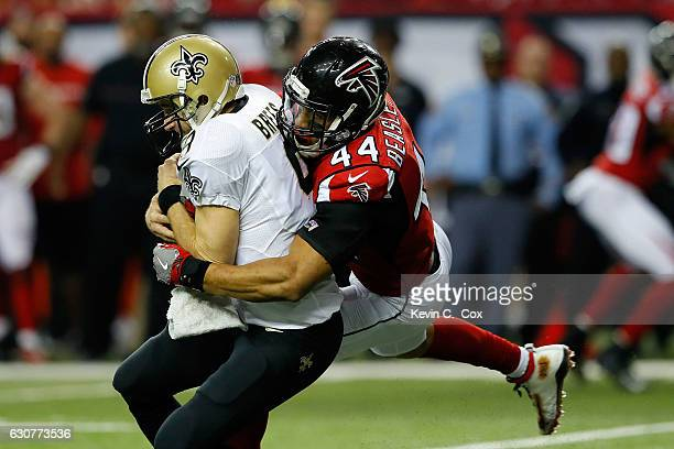 ae443659b08 ... Vic Beasley Jr 44 of the Atlanta Falcons sacks Drew Brees of the New  Orleans ...