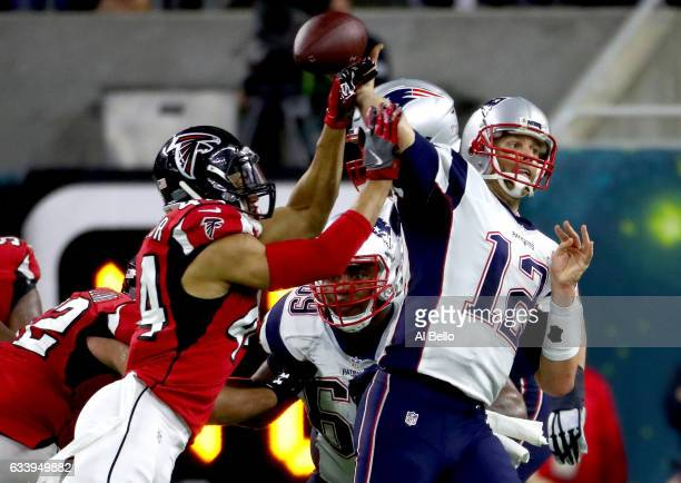 Vic Beasley of the Atlanta Falcons tips a pass by Tom Brady of the New England Patriots in the second quarter during Super Bowl 51 at NRG Stadium on...