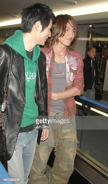 Vic Chou and Jerry Yan of F4 during F4 Arrives in Tokyo to Promote Taiwanese Tourism March 6 2007 at Narita International Airport in Narita Japan