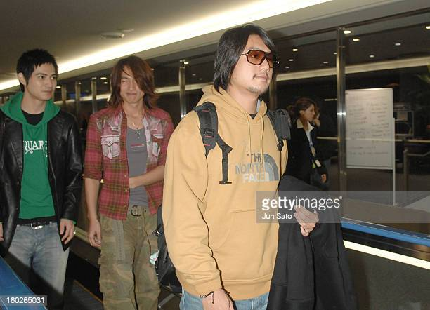 Vic Chou Jerry Yan and Ken Chu of F4 during F4 Arrives in Tokyo to Promote Taiwanese Tourism March 6 2007 at Narita International Airport in Narita...