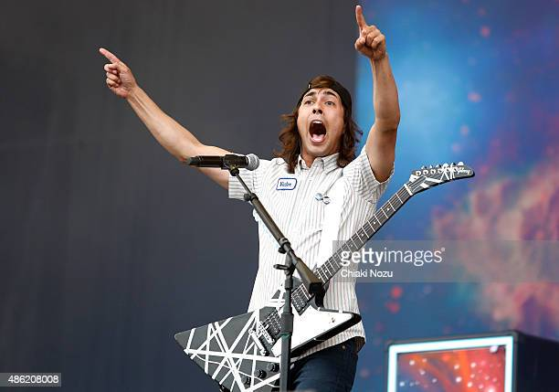 Vic Fuentes of Pierce The Veil performs on Day 2 of the Reading Festival at Richfield Avenue on August 29 2015 in Reading England