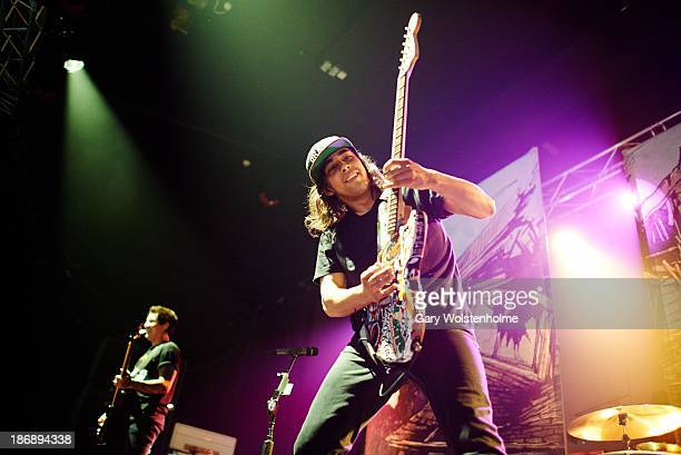 Vic Fuentes of Pierce The Veil performs on stage at Manchester Academy on November 4 2013 in Manchester United Kingdom