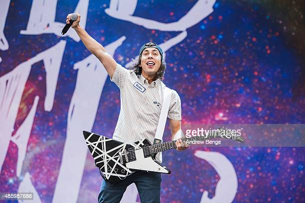 Vic Fuentes of Pierce The Veil performs on the main stage during day 3 of Leeds Festival at Bramham Park on August 30 2015 in Leeds England