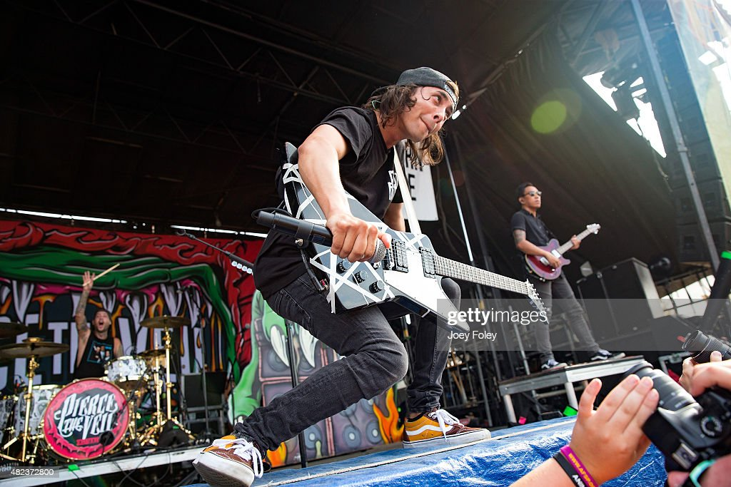 Vic Fuentes of the band Pierce the Veil performs live onstage at Klipsch Music Center on July 29 2015 in Noblesville Indiana
