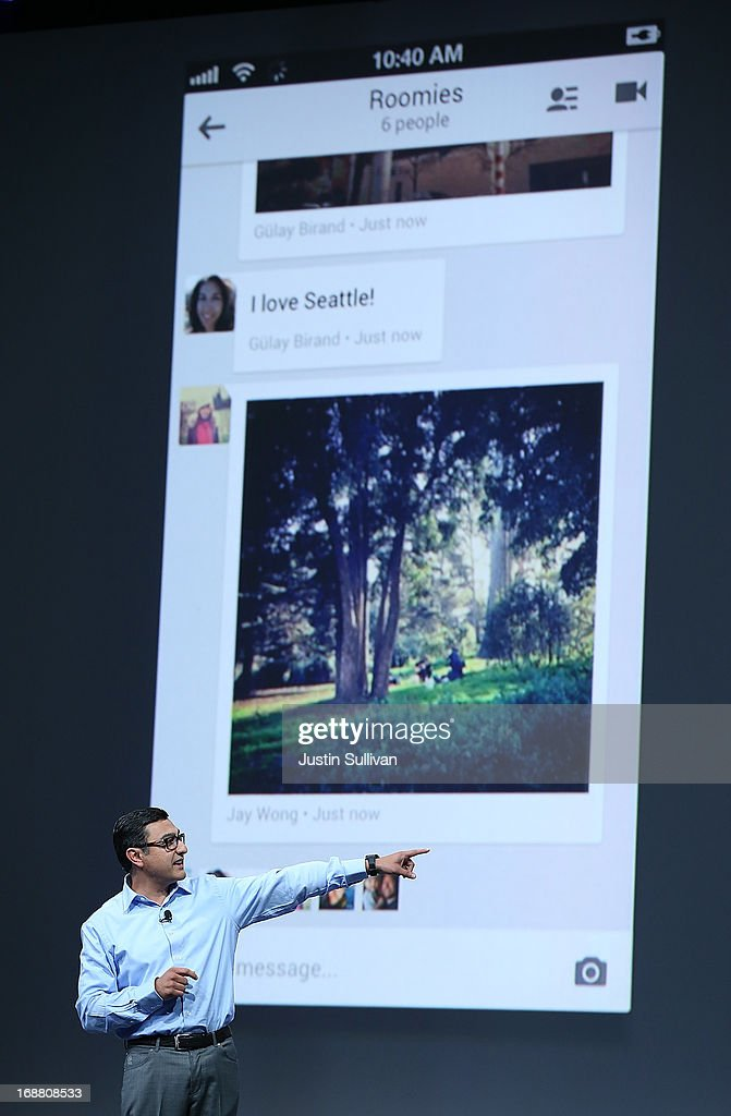Vic Gundotra, Google senior vice president of engineering, announces 'hangouts' for Google+ as he speaks during the opening keynote at the Google I/O developers conference at the Moscone Center on May 15, 2013 in San Francisco, California. Thousands are expected to attend the 2013 Google I/O developers conference that runs through May 17. At the close of the markets today Google shares were at all-time record high at $916 a share, up 3.3 percent.