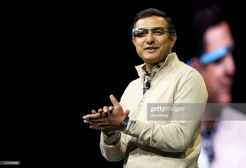 Vic Gundotra, senior vice president of engineering at Google Inc., wears Project Glass internet glasses while speaking at the Google I/O conference in San Francisco, California, U.S., on Thursday, June 28, 2012. Google Inc., owner of the world's most popular search engine, unveiled a cloud-computing service for building and running applications to help woo customers and challenge Amazon.com Inc.'s Web Services. Photographer: David Paul Morris/Bloomberg via Getty Images