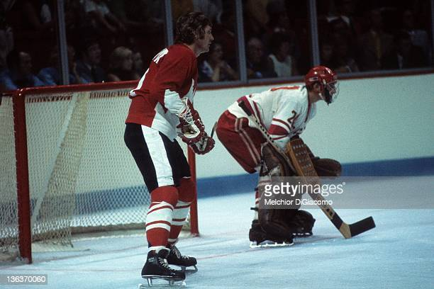 Vic Hadfield of Canada sets up in front of the net as goalie Vladislav Tretiak of the Soviet Union follows the play during Game 1 of the 1972 Summit...