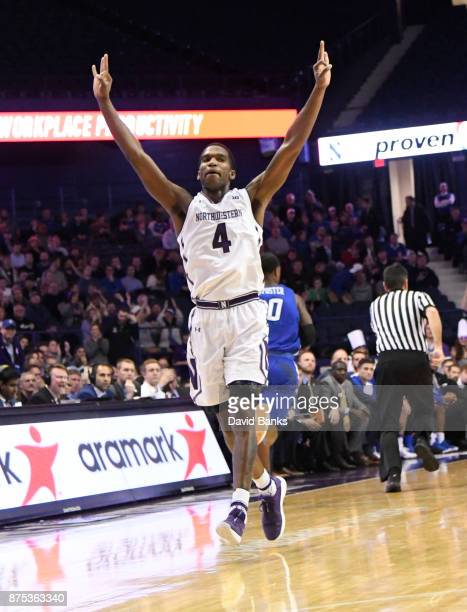 Vic Law of the Northwestern Wildcats reacts after making a threepoint basket against the Creighton Bluejays during the second half on November 15...