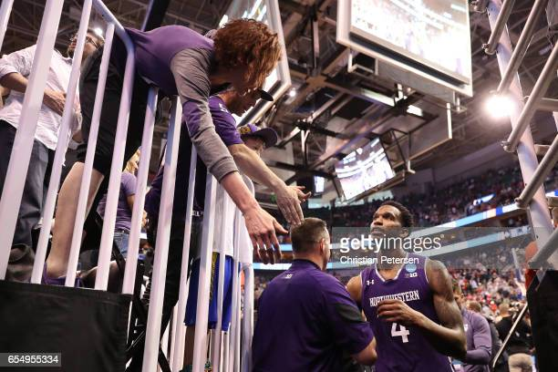 Vic Law of the Northwestern Wildcats walks off the court after his teams loss to the Gonzaga Bulldogs during the second round of the 2017 NCAA Men's...