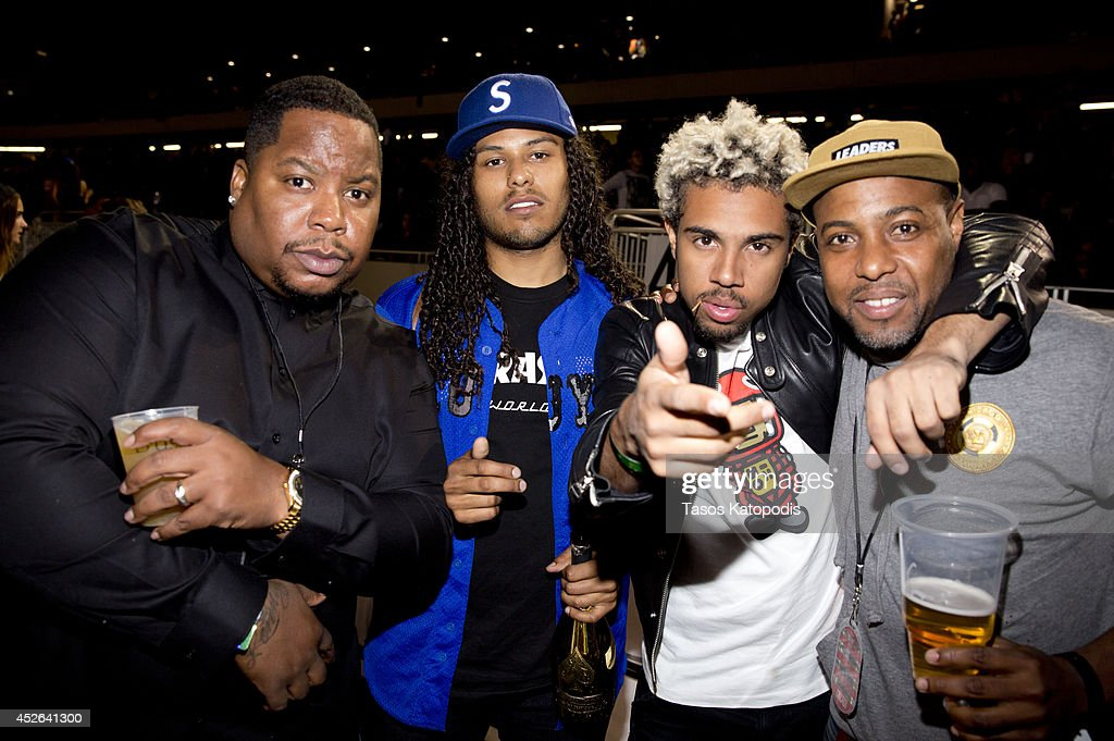 <a gi-track='captionPersonalityLinkClicked' href=/galleries/search?phrase=Vic+Mensa&family=editorial&specificpeople=9449887 ng-click='$event.stopPropagation()'>Vic Mensa</a> attends the D'USSE VIP Riser and Lounge at On The Run Tour Chicago at Soldier Field on July 24, 2014 in Chicago, Illinois.