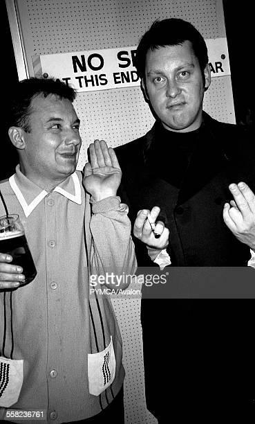 Vic Reeves and Bob Mortimer by the main bar of the Hacienda Manchester 1989