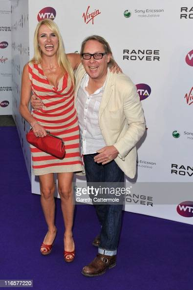 Vic Reeves and Nancy Sorrell arrive at the WTA Tour PreWimbledon Party at The Roof Gardens Kensington on June 16 2011 in London England