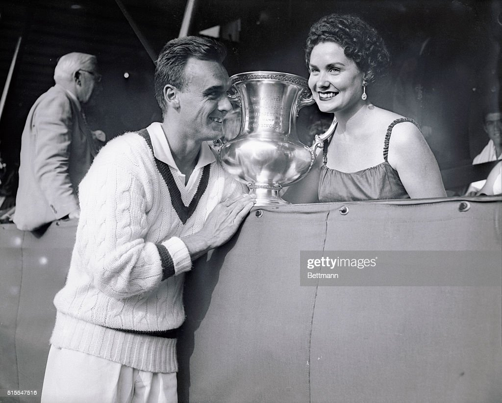 Vic Seixas and His Wife Posing With His Trophy