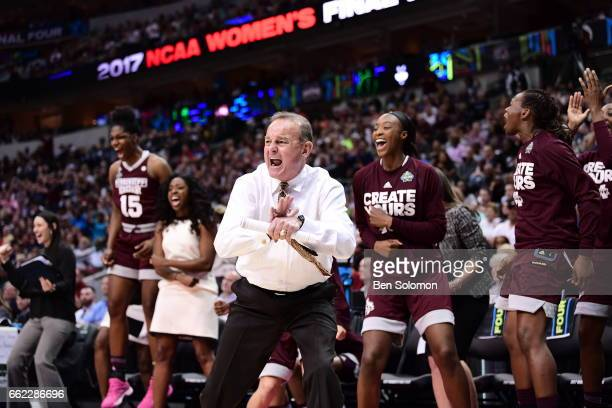 Vic Shaefer head coach for the Mississippi State Bulldogs reacts during the semifinal round of the 2017 NCAA Women's Final Four at American Airlines...