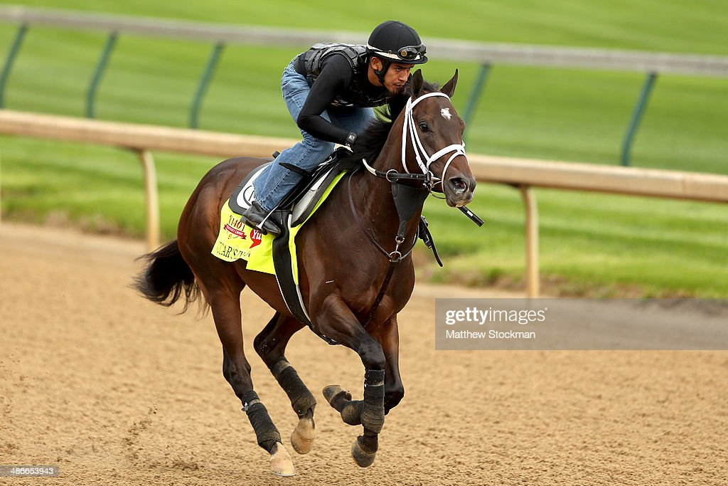 Vicar's In Trouble is riden by Joel Barrientos during the morning exercise session in preparation for the 140th Kentucky Derby at Churchill Downs on...
