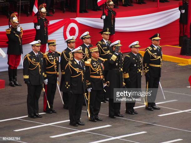 Vice Admiral José Luis Paredes Lora Chief of the Joint Command of the Armed Forces and Peruvian Commanding Officers from army navy air force and...