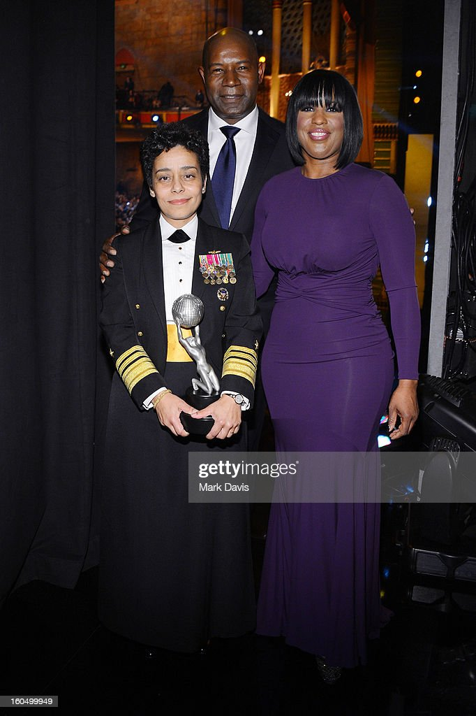 Vice Admiral <a gi-track='captionPersonalityLinkClicked' href=/galleries/search?phrase=Michelle+Howard+-+Admiral&family=editorial&specificpeople=2163111 ng-click='$event.stopPropagation()'>Michelle Howard</a>, recipient of the Chairman's Award, actor <a gi-track='captionPersonalityLinkClicked' href=/galleries/search?phrase=Dennis+Haysbert&family=editorial&specificpeople=212993 ng-click='$event.stopPropagation()'>Dennis Haysbert</a>, and NAACP Chairman of the National Board of Directors Roslyn M. Brock attend the 44th NAACP Image Awards at The Shrine Auditorium on February 1, 2013 in Los Angeles, California.